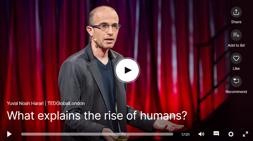 Screen Shot of Ted Talk by Yuval Noah Harari