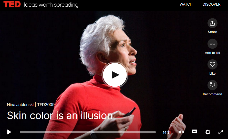 "Screen shot of Nina Jablonski's Ted talk ""Skin Color is an Illusion"""