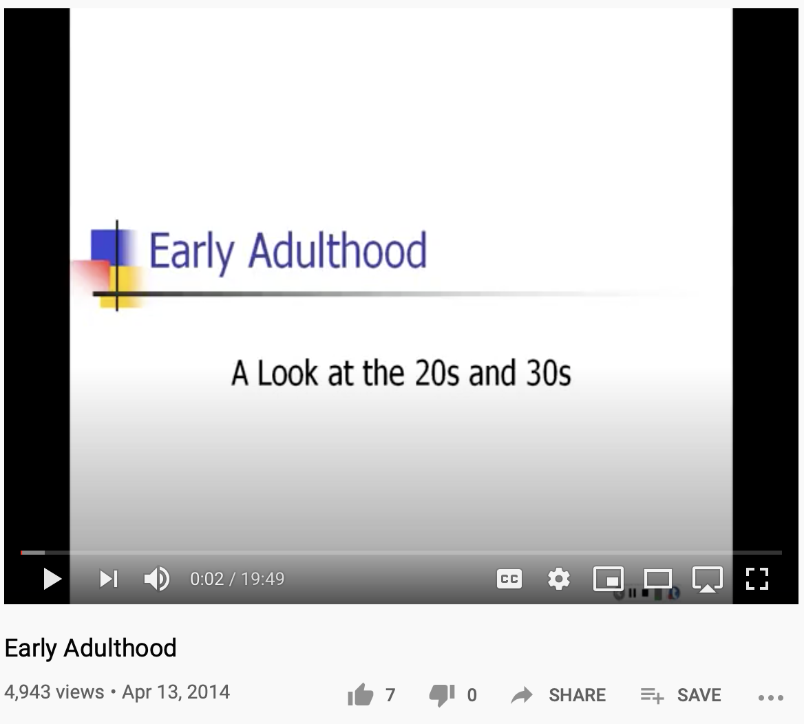 Screenshot of YouTube video Early Adulthood by Laura Overstreet.