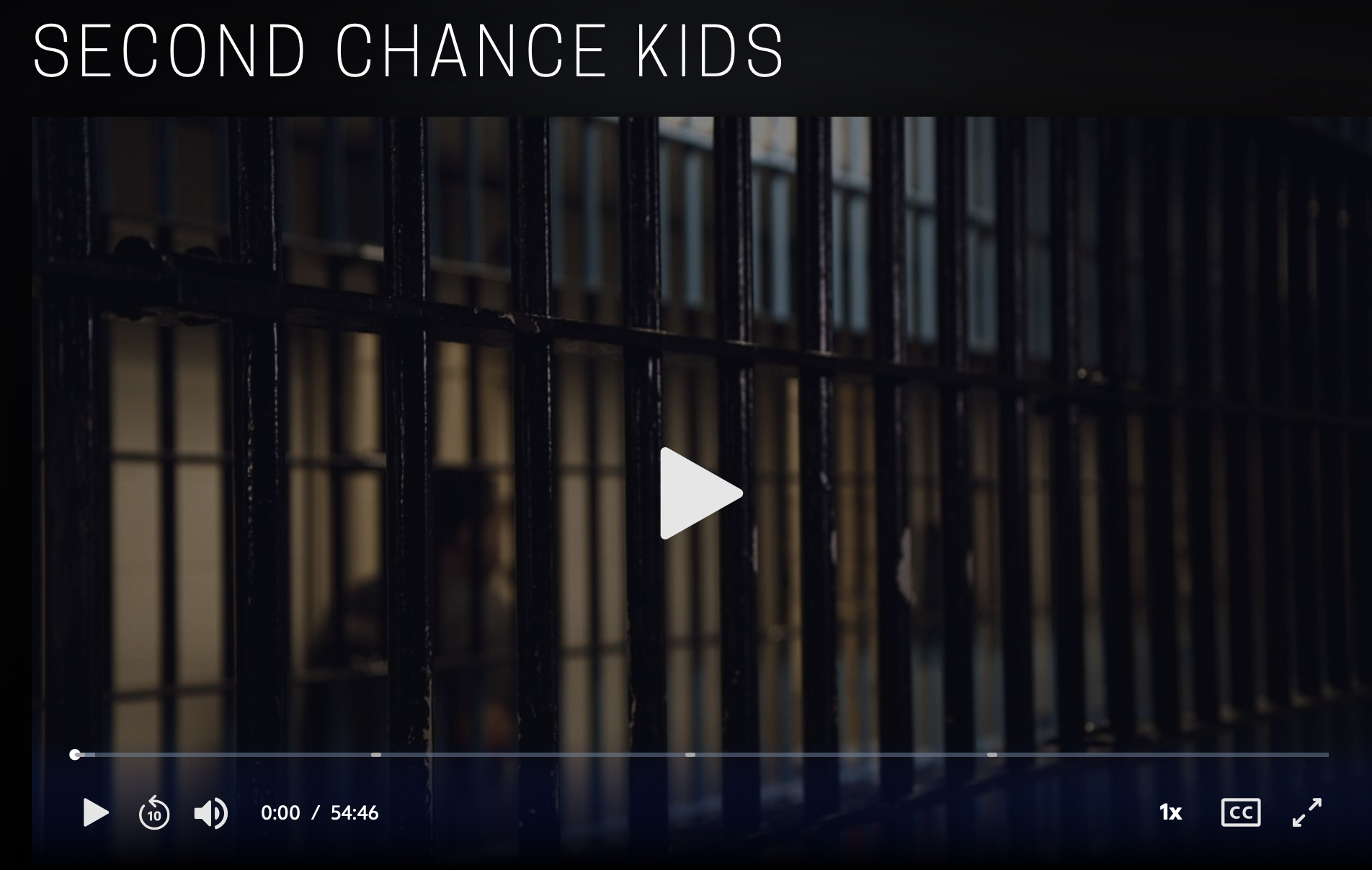 Screenshot of dark prison bars for a Frontline/PBS Video titled Second Chance Kids.