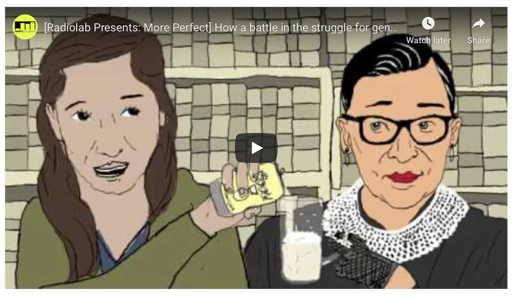 """Screenshot of the video """"Sex Appeal"""" which is about Ruth Bader Ginsburg and is available from WNYC."""