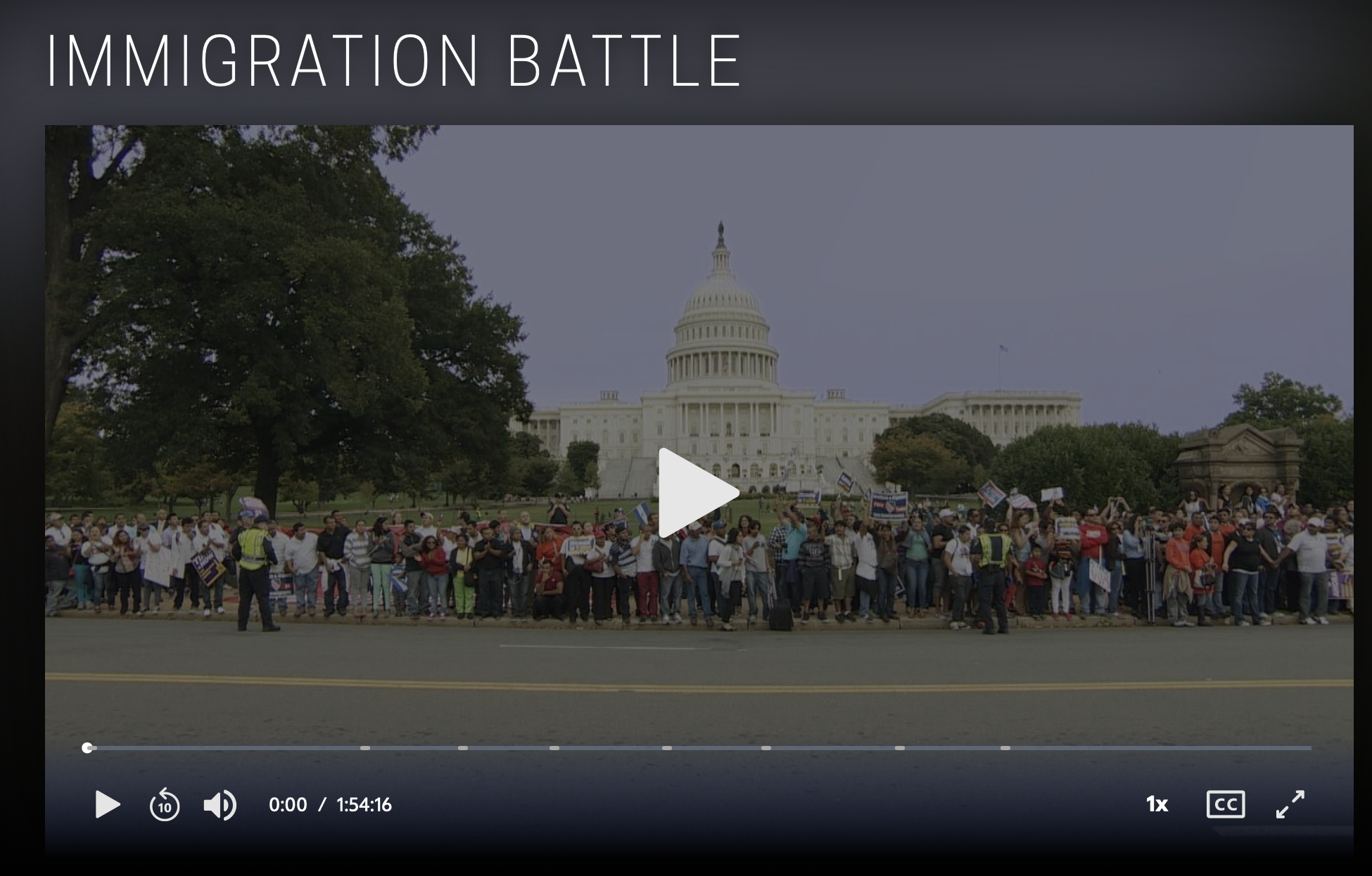 Screenshot for a Frontline/PBS video called Immigration Battle.