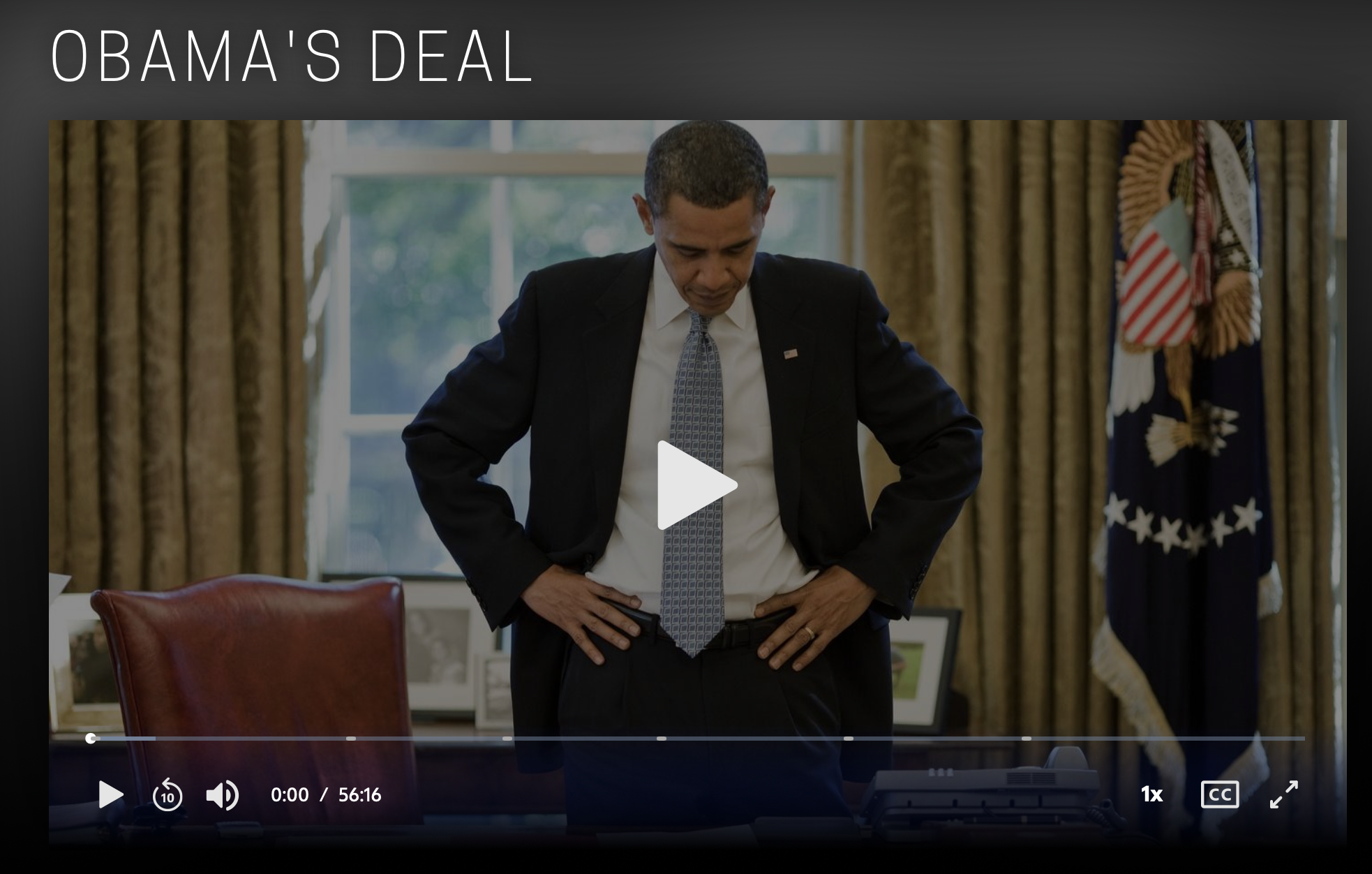 Screenshot of the Frontline/PBS video Obama's Deal.