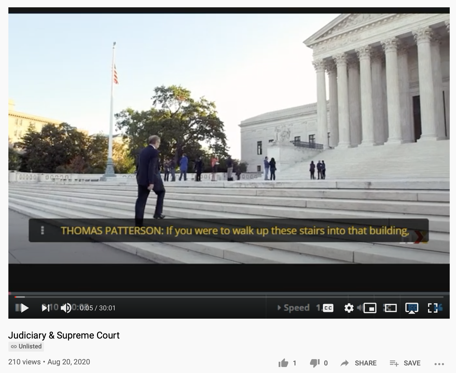 Video lecture by Harvard Professor, Thomas Patterson, on Judiciary & Supreme Court available on YouTube and his HarvardX/EdX page.