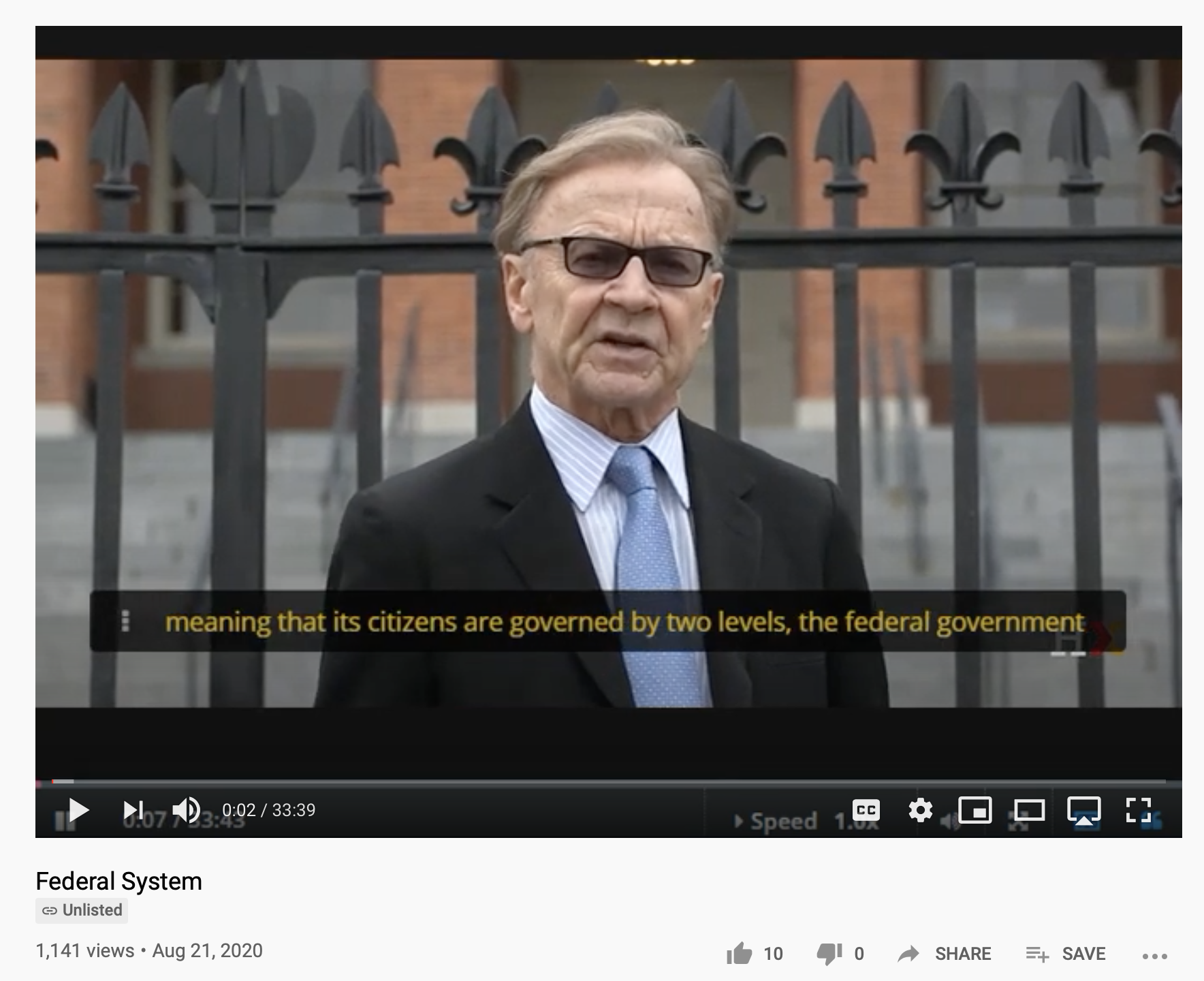 Video lecture by Harvard Professor, William Patterson, on the Federal System available on YouTube and his HarvardXEdX page.