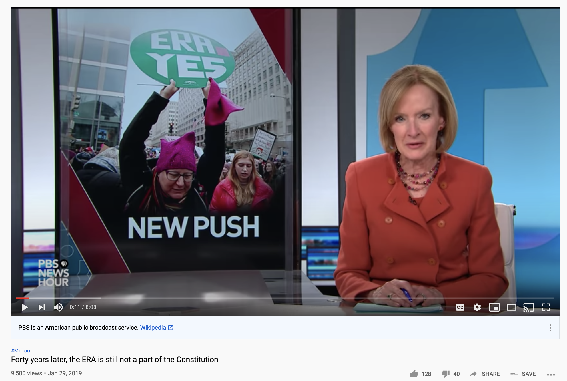 Screenshot of the video Forty years later, the ERA is still not a part of the Constitution on the PBSNewsHour.