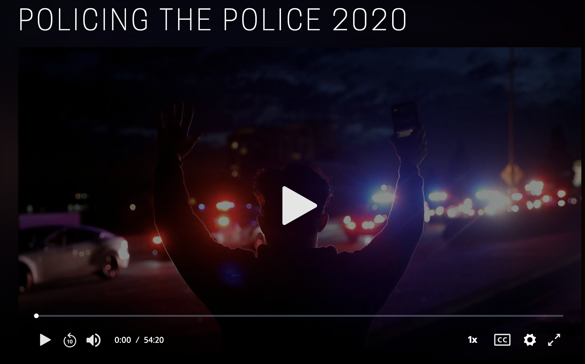 Screenshot of PBS video on Policing the Police.