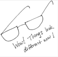 "Cartoon drawing of a pair of glasses, with the caption ""Wow!  Things look different now!"""