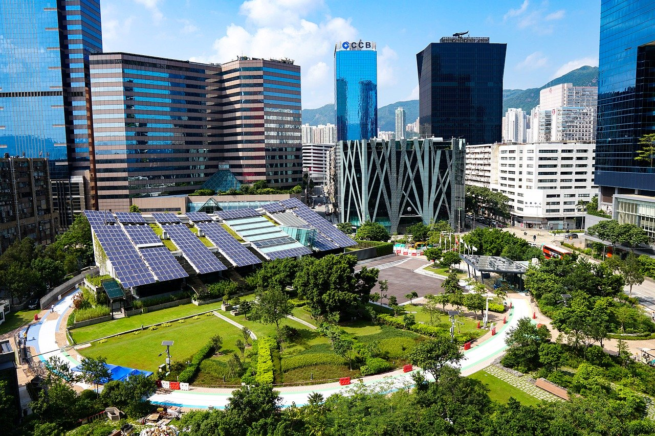 Example of a sustainable city using solar panels, etc.