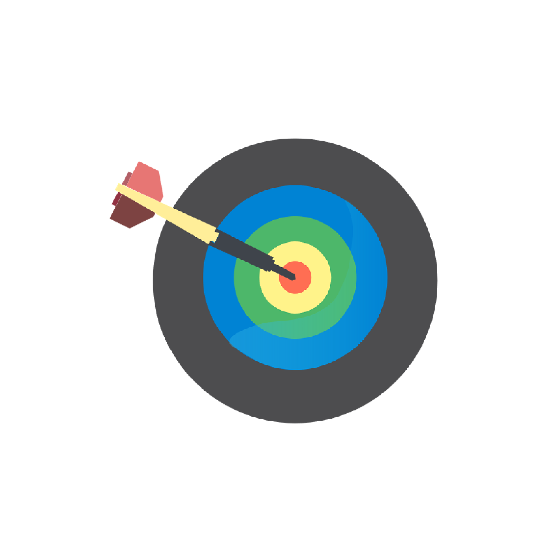 Bullseye with different colored rings with a single dart hitting the center f the target.