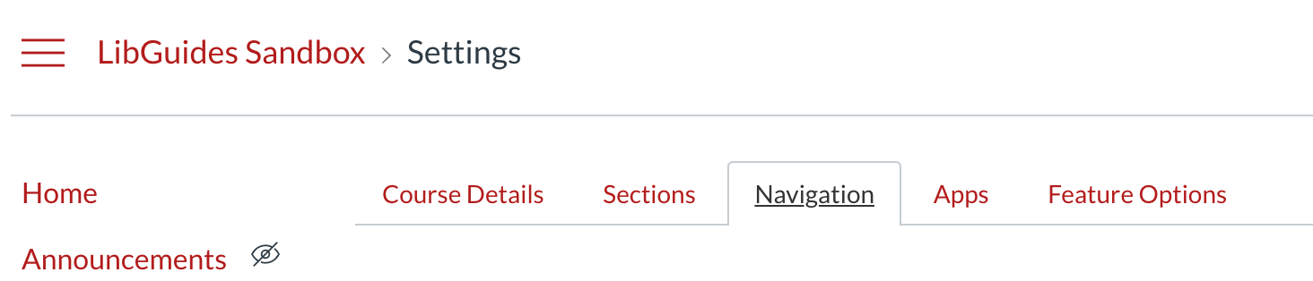 After Settings go to Navigation tab