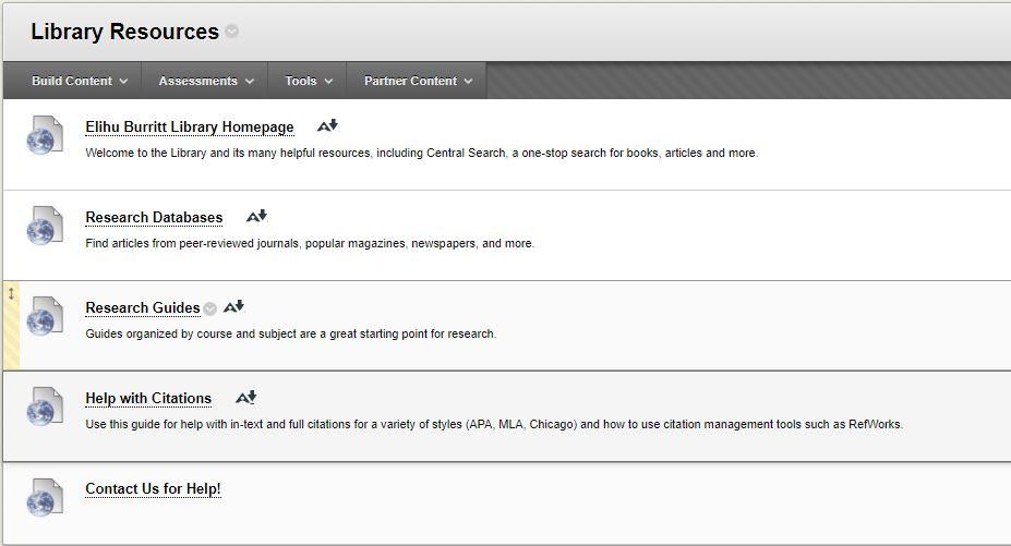 Screen shot of library resources in Blackboard