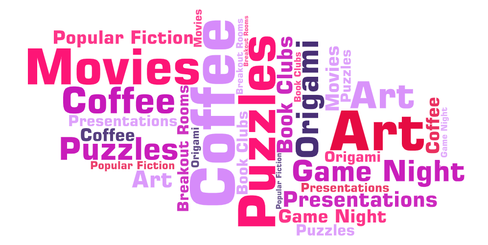 word cloud with popular fiction, movies, art, book clubs, puzzles, origami, coffee