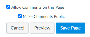 allow comments on your ePortfolio