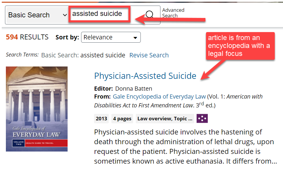 Next, search for the topic of your case and find results with a legal focus, example: assisted suicide
