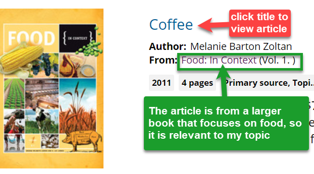 example of an article from a larger book about food