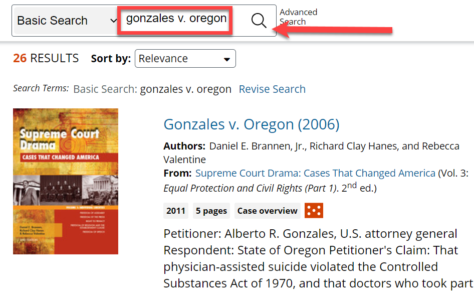 First, search on the name of your court case, for example: Gonzalez v. Oregon