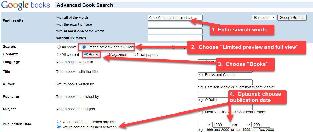 image showing search strategies for Google Books