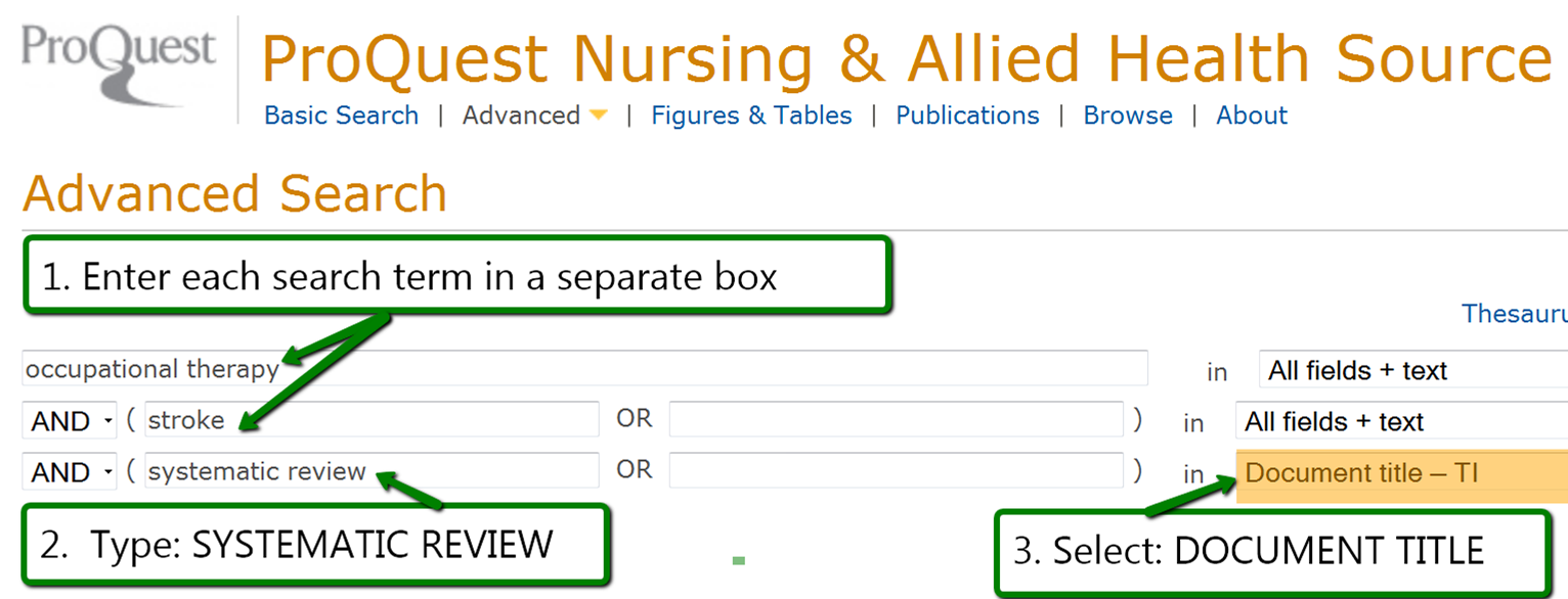 "1. enter search terms in separate box 2. On one line, include ""systematic review"" and choose the ""Document Title"" option in the field to the right"
