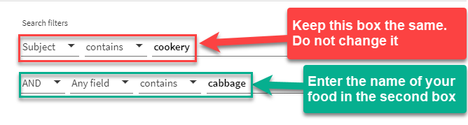 narrower search by adding the name of your food to the second search box