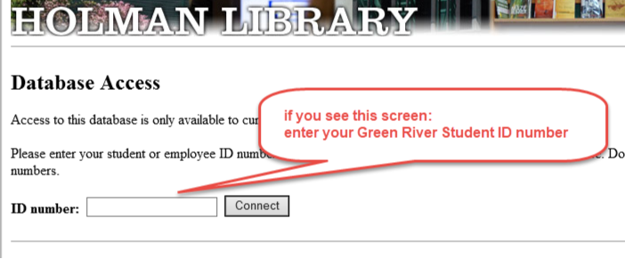image of the log in page for accessing resources from off campus