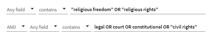 Note that you will need to perform another search for different concepts, but the search construction is the same as above.  See example below for the other issues in the Burwell v. Hobby Lobby case: religious freedom