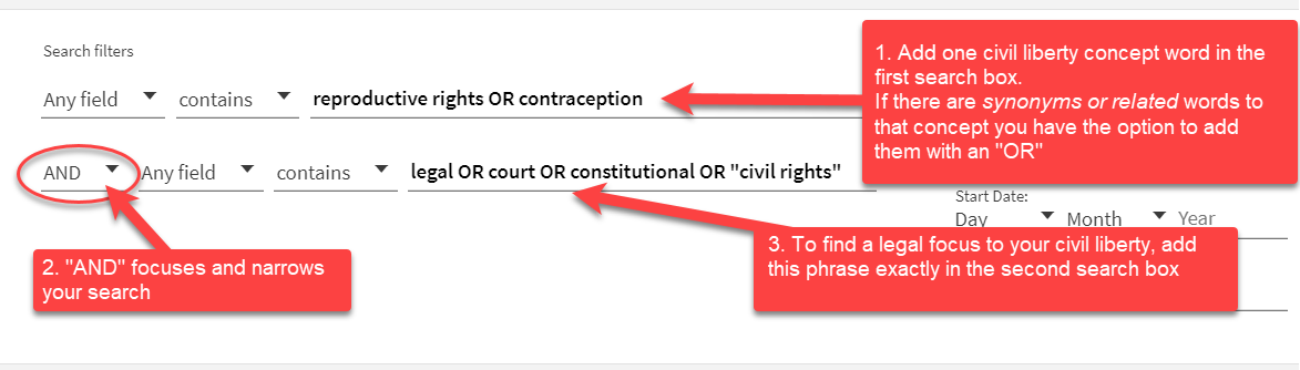 """1. Add one civil liberty concept word in the first search box.   If there are synonyms or related words to that concept you have the option to add them with an """"OR"""" 2. """"AND"""" focuses and narrows your search 3. To find a legal focus to your civil liberty, add this phrase exactly in the second search box: legal OR court OR constitutional OR """"civil rights"""""""