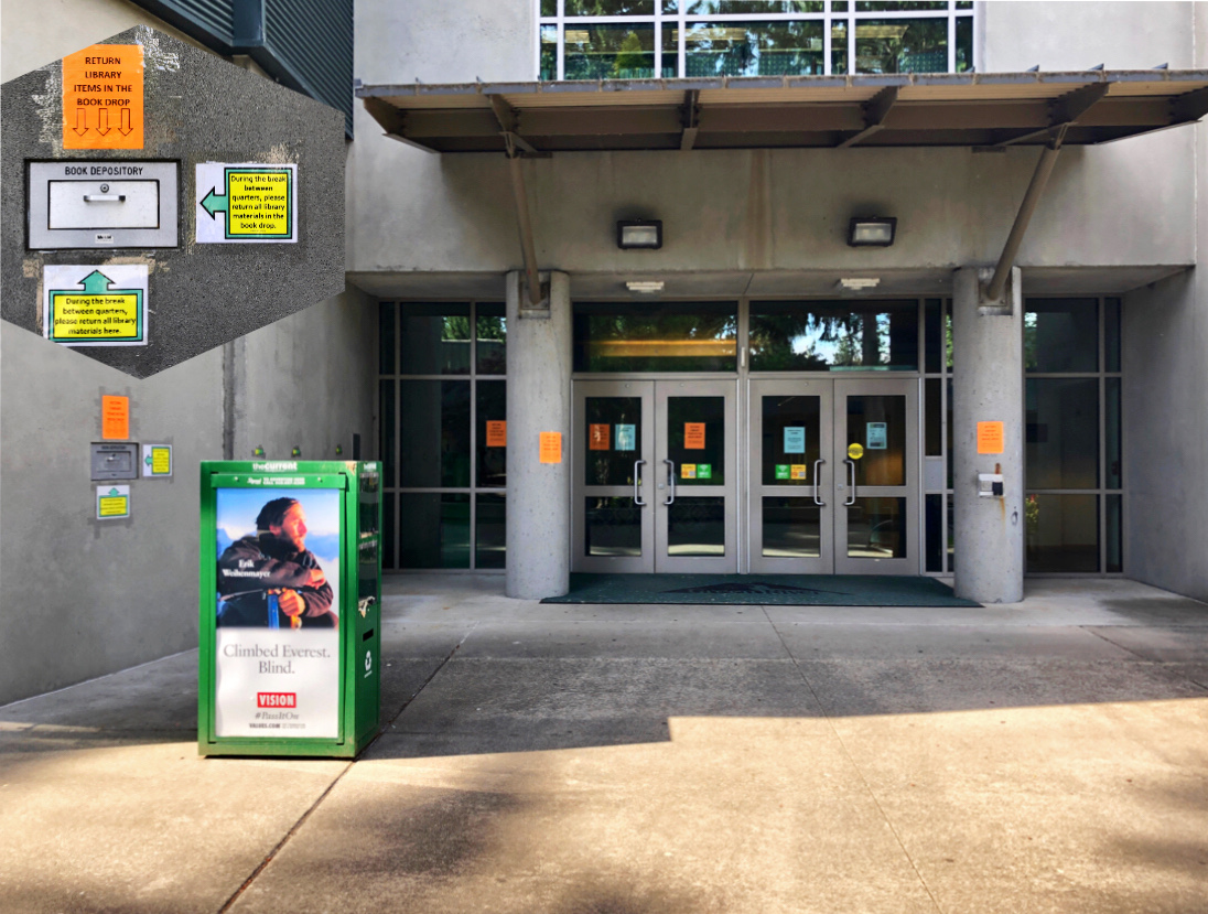 GRC Holman Library Bookdrop: to left of the south building doors