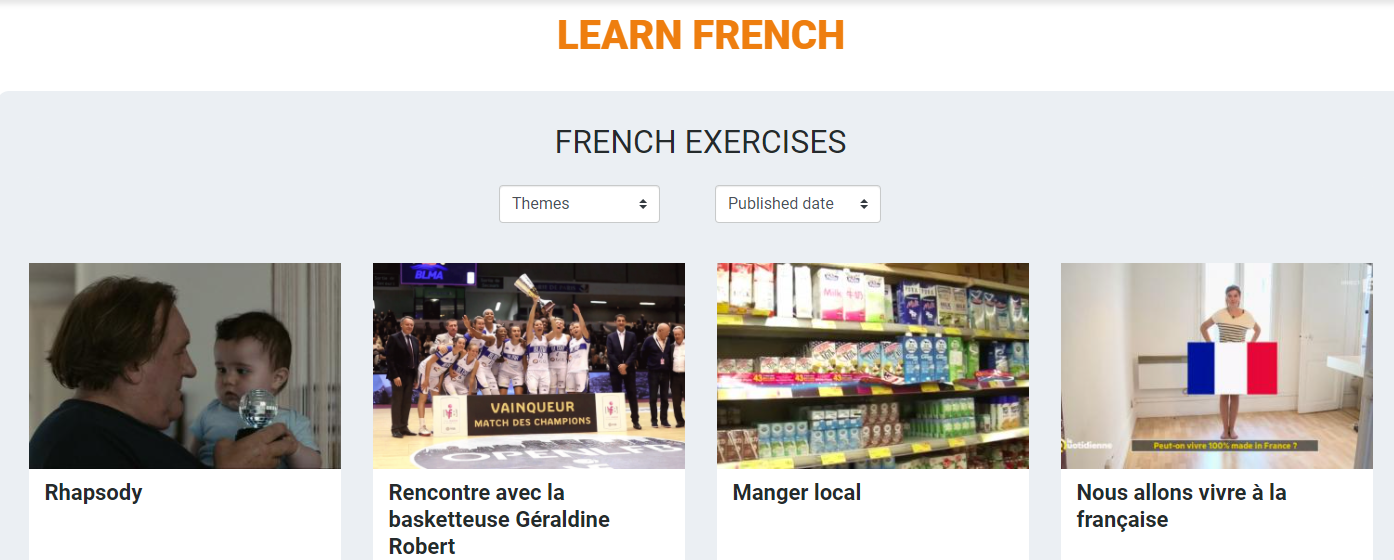 screenshot of TV5Monde French lessons page