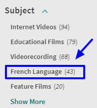 "HL One Search limiter options example ""subject - French Language"""
