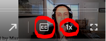 screenshot of the CC and playback speed icons on a Panopto video