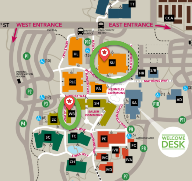 Campus map image with buildings including gender-inclusive restrooms circled