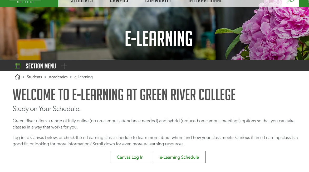 GRC e-learning website screenshot