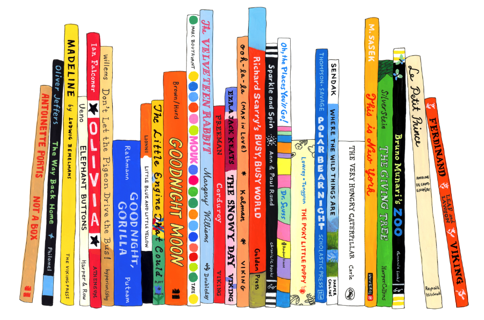 Illustration of a row of popular kids books