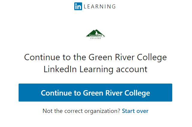 LinkedIn Learning login, continue to GRC