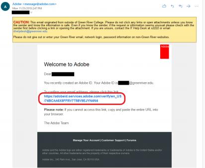 Adobe verification email