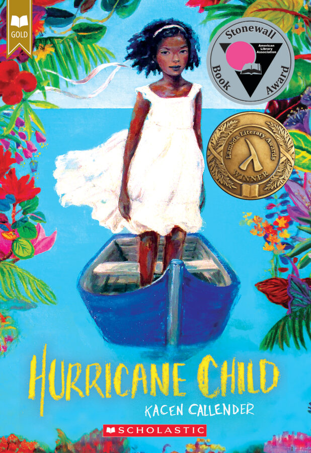 Book cover of Hurricane Child shows a young black girl standing in a boat surrounded by flowers.