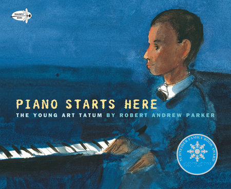 Book cover of Piano Starts Here. A young boy sits at a piano.