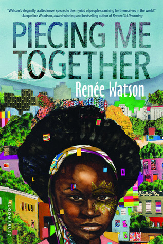 Cover of Piecing Me Together shows a black teenage girl's face in front of a city. Her hair is tied back with a colorful scarf.