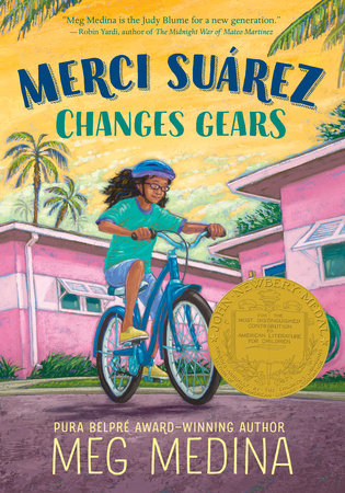Book cover of Merci Suarez Changes Gears. A preteen girl rides her bike through the streets of her neighborhood.