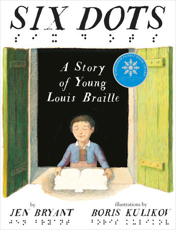 Cover of Six Dots. A young boy with his eyes closed holds a book outside of a window.