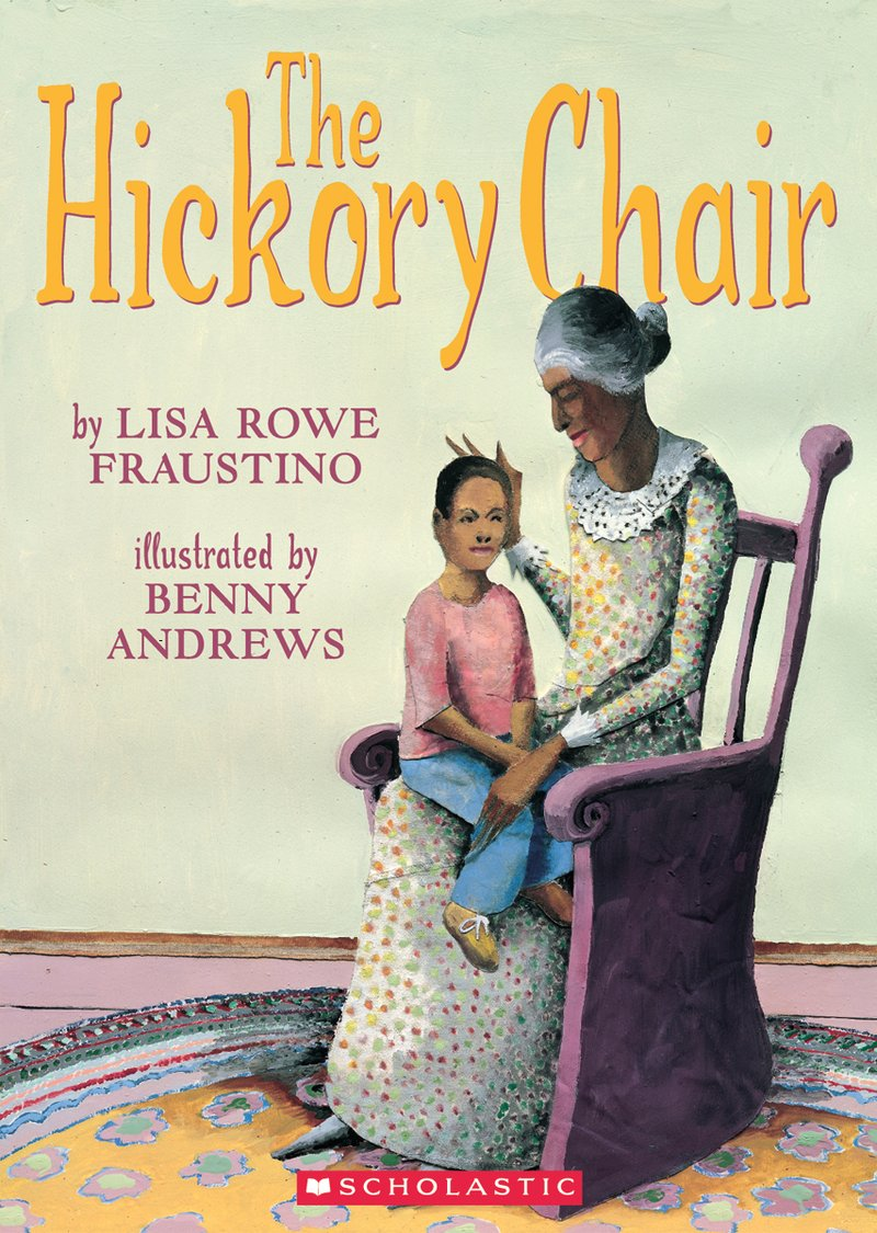 Book cover of The Hickory Chair. A young boy sits in his grandmother's lap.