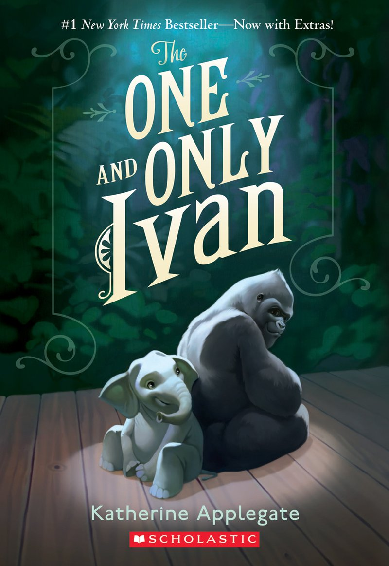 Book cover of The One and Only Ivan. An adult gorilla and baby elephant sit back to back.