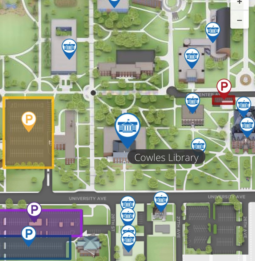 Campus Map showing Cowles Library and Nearest Parking Lot