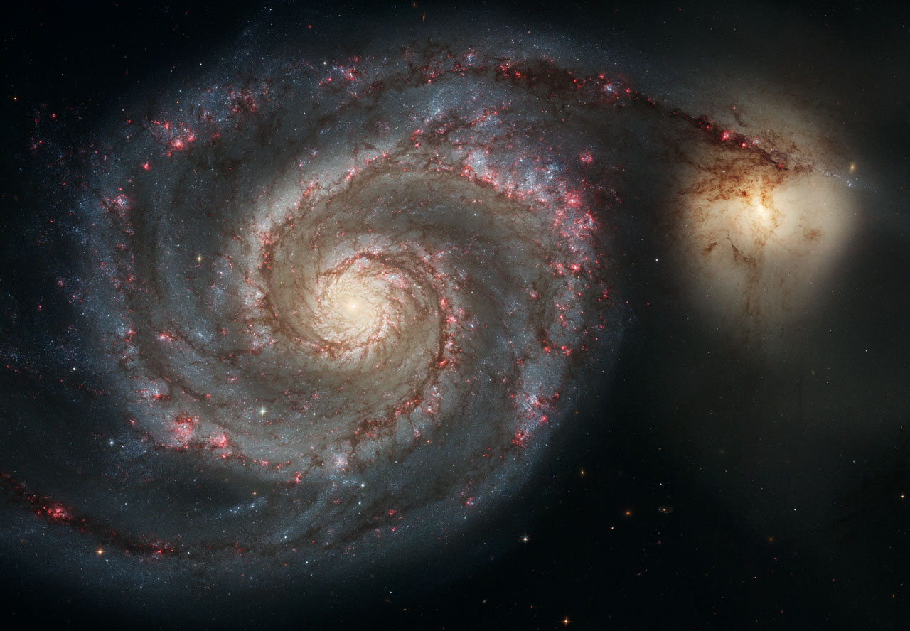 Image of the spiral galaxy M51 taken by the Hubble Telescope