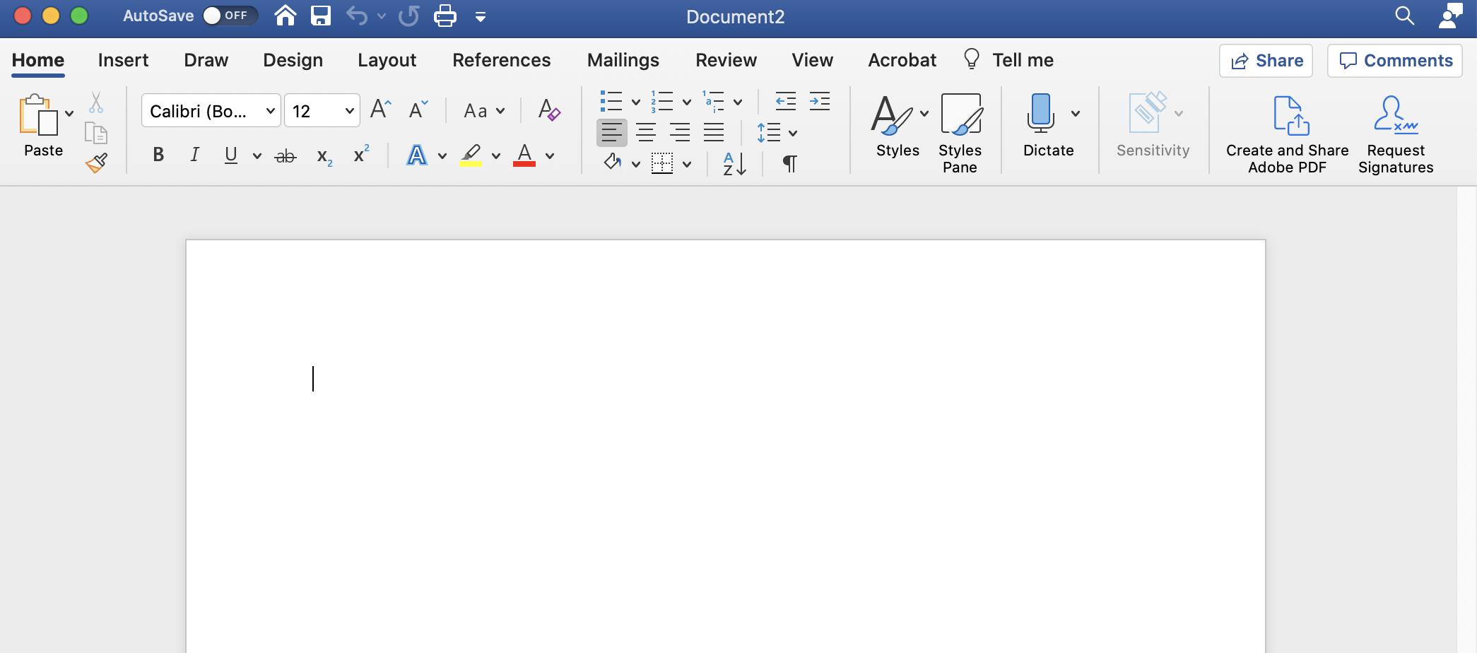 screenshot of a blank word document
