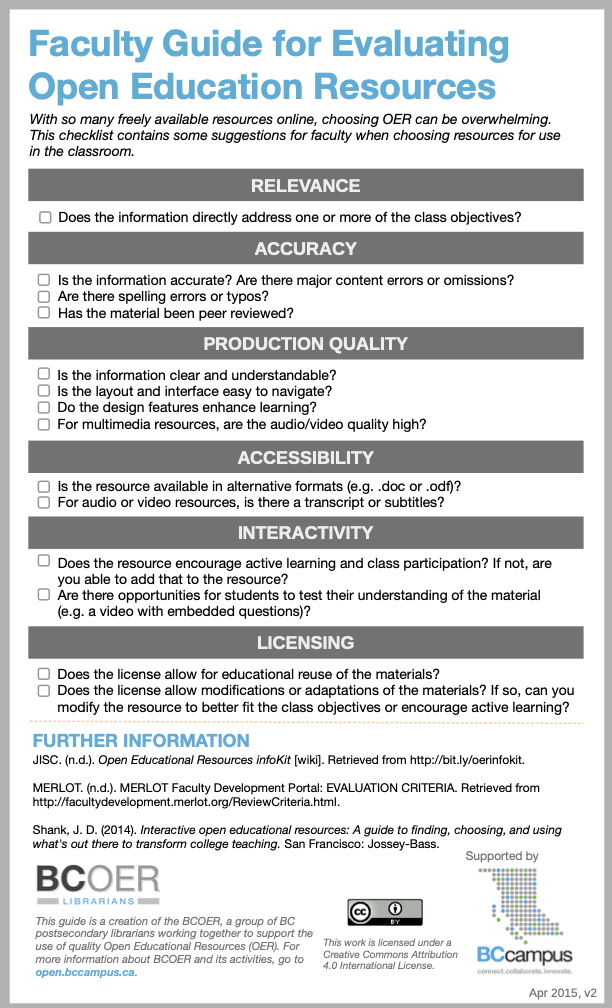 Faculty Guide for Evaluating Open Education Resources. Text alternative below.