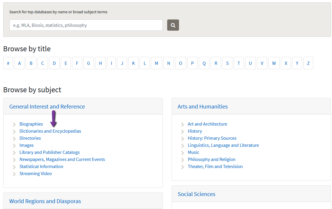 Databases page