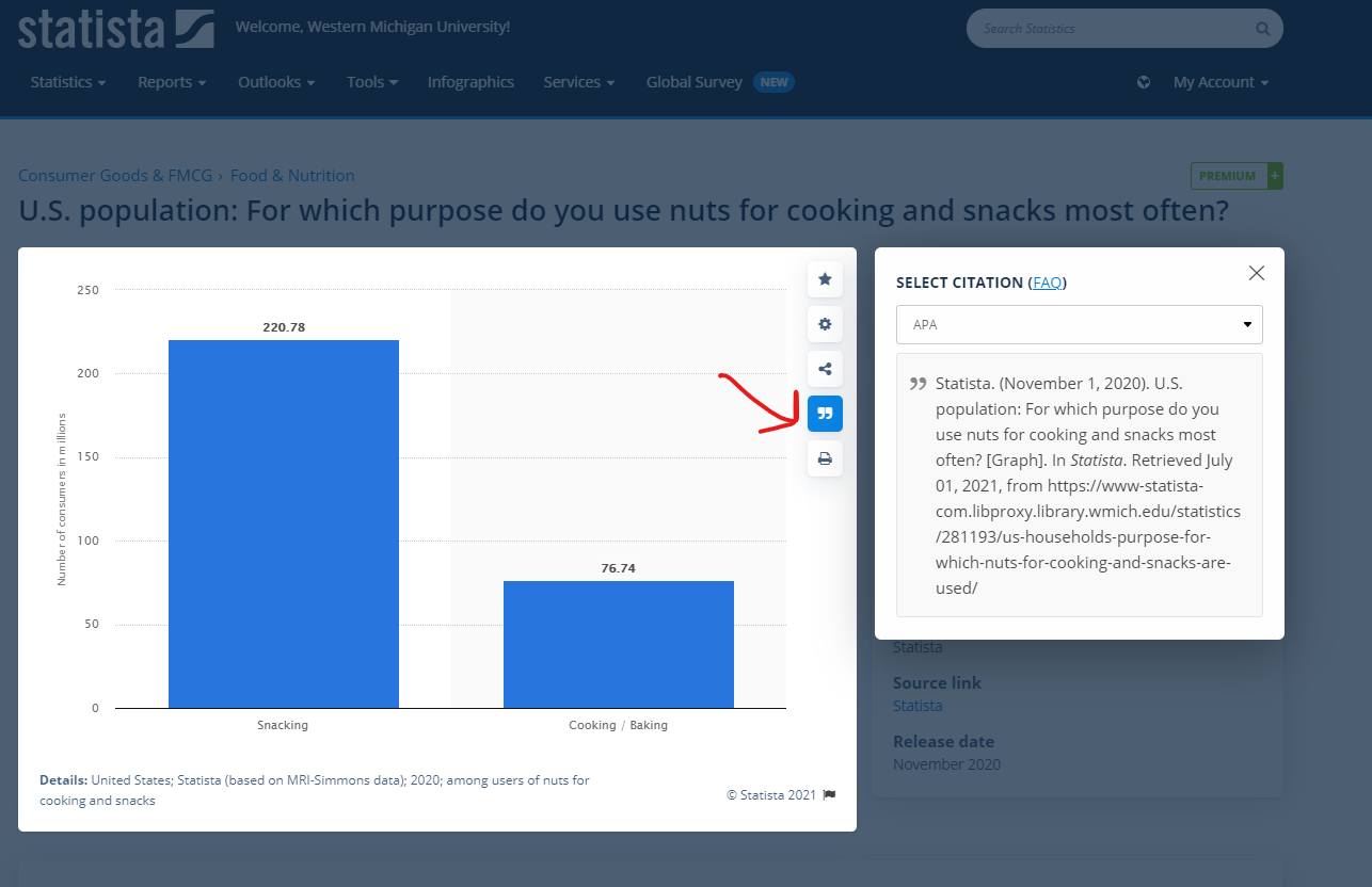 arrow pointing at the quotation button for a chart in Statista which will give the user an APA citation