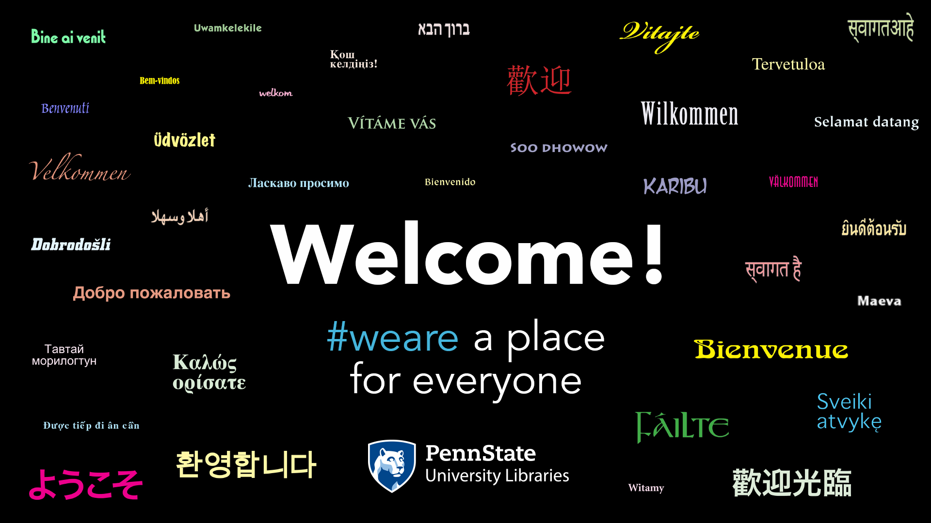 """Welcome"" in many languages."